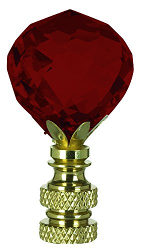 Multi-Faceted Swarovski Crystal Ball Finial Lamp Shade - Full color Red - Additional Vibrant Colors Available by TableTop King