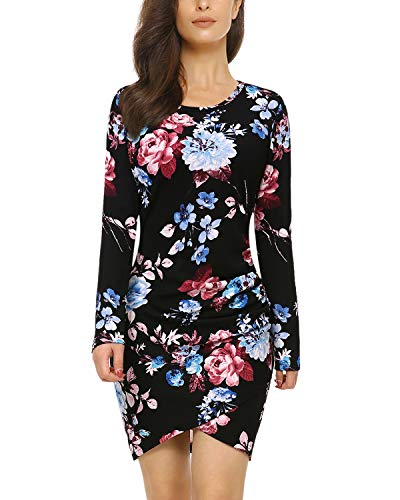 Mixfeer Womens Floral Print Long Sleeve Dress Irregular Hem Ruched Mini Party Dress Tulip Bodycon Dress