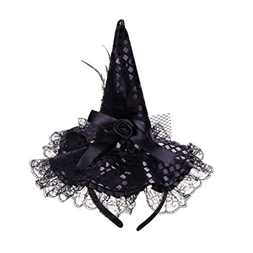 Polymer Children Halloween Headband Feather Party Witch Hat for Costume Dress up Party Performance Supplies (Black) -
