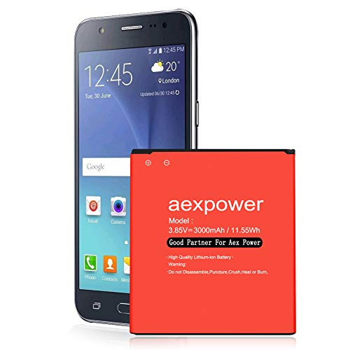 [Upgraded] Galaxy J3 Battery, AexPower 3000mAh Battery Replacement for Galaxy J3 J320V J320A J320F J320P J327A J327P EB-BG530BBC EB-BG530BBE/ Galaxy On5 Battery/Galaxy Grand Prime SM-G530 Battery