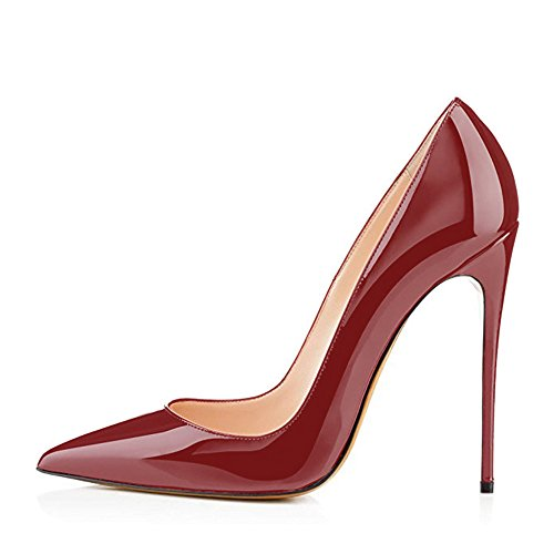 High Shoes Women's Evening Wine Toe Wedding Red On Pointy Slip Party Size Modemoven Large Heels Stilettos Pumps tdqw6nt47