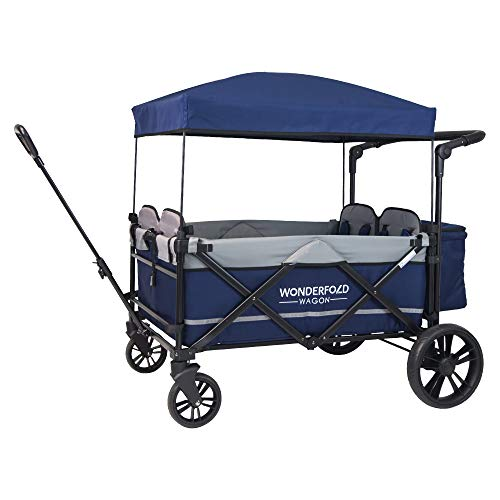 WonderFold Baby XXL 4-Passenger Pull/Push Quad Stroller Wagon with Adjustable Handle Bar, Removable Canopy, Safety Seats with 5-Point Harness, One-Step Foot Brake (Navy) (Xl Wagon)