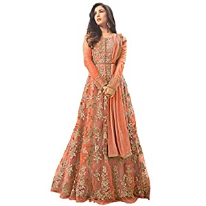 JOKL® Women's Net Embroidered anarkali Semi Stitched Long Gown With Duptta