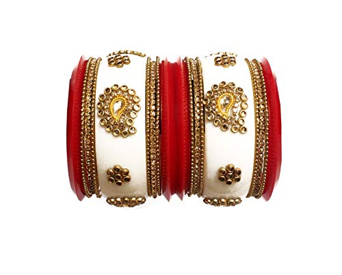 Glamorous Collection Indian Bangles Set 2-6 (2.37 inches) Indian Designer Red White Wedding Bridal Chura Sip Bollywood Plastic Bangles Set