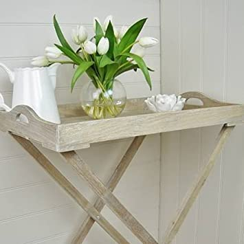 Natural Wooden Butler Tray On Stand