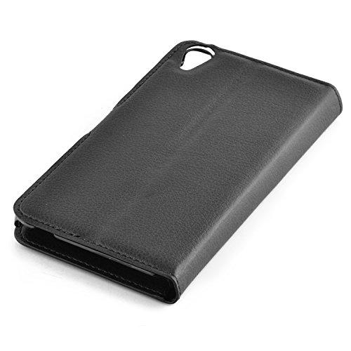 Cadorabo - Funda HTC DESIRE 820 Book Style de Cuero Sintético en Diseño Libro - Etui Case Cover Carcasa Caja Protección (con función de suporte y tarjetero) en MARRÓN-CHOCOLATE NEGRO-FANTASMA