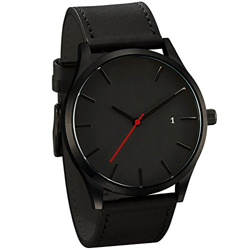 Han Shi Mens Quartz Wristwatch, Fashion Popular Low Key Minimalist connotation Leather Clock (L, Black-A) from Han Shi