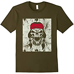 Mens Screaming Pirate Skull T-Shirt XL Olive