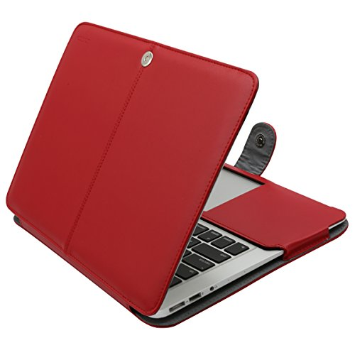 MOSISO PU Leather Case Only Compatible MacBook Air 13 Inch A1466/A1369 (Older Version Release 2010-2017), Premium Quality Book Folio Protective Stand Cover Sleeve, Red