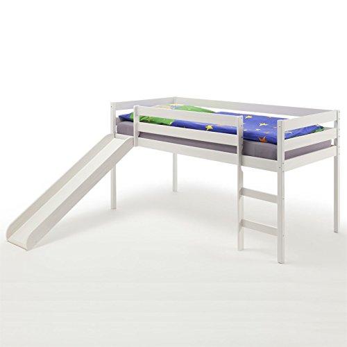 Spielbett Rutschbett aus Kiefer massiv in weiss lackiert 90 x 200 cm (B x L)