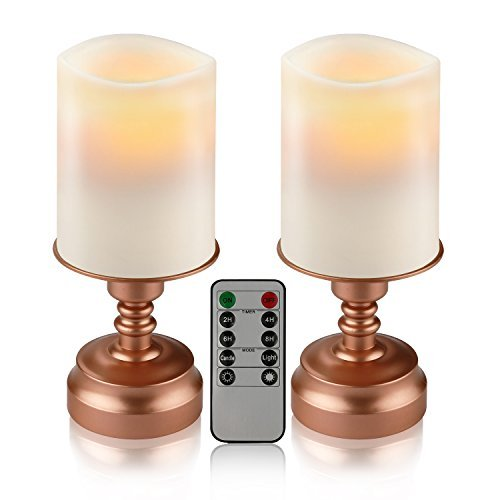 Set of 2 7' Flameless LED Battery operated Candles Ivory Color with Remote 24-hour Timer Function in Bronze Base