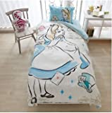 Disney Alice duvet cover, sheets, pillow case three-piece set Japanese-style single white blue