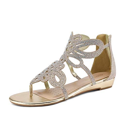 - DREAM PAIRS Women's Jewel_02 Gold Rhinestones Design Ankle High Flat Sandals Size 8 M US