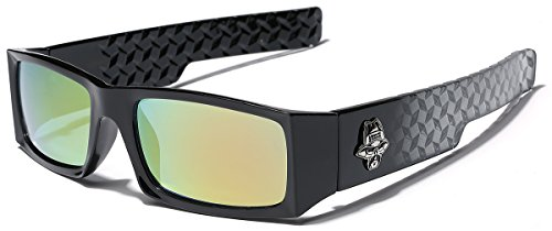 Locs Men's Original Gangsta Shades Rectangle Sunglasses with Color Mirror -