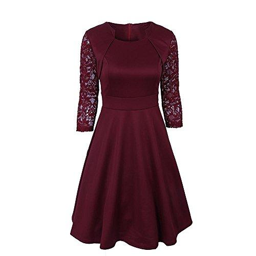 Damas Falda Vestido De Cuello Cuadrado De Encaje Costura Falda Falda De Fibra De PoliéSter Wine Red