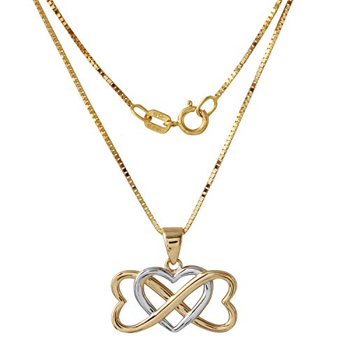- Bee Jewels Women's 14k Two-Tone Gold Infinity Hearts Entwined Pendant Necklace, 18