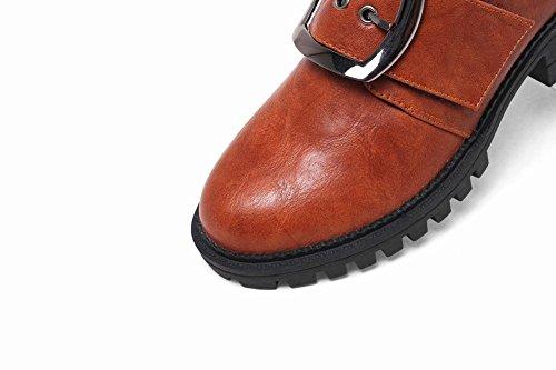 Donna Tacco Pelle Arancio Giallo Carolbar Scarpe In Medio Con Casual Fibbia 1I7q6Zd