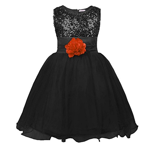 MOREMOO Little Girls' Sequin Mesh Flower Ball Gown Party Dress Tulle Prom(Black 4T) ()