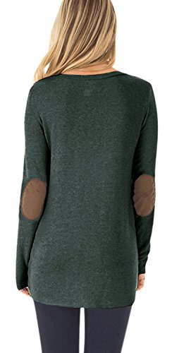 DEARCASE Women's Casual Long Sleeve Round Neck Loose Tunic T Shirt Blouse Tops Green Medium by DEARCASE (Image #1)