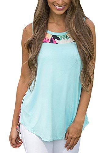 Classic Print Tank Top (FARYSAYS Women's Summer Sleeveless Floral Print High Low Cami Tank Tops,Light Blue,(US 4-6)S)