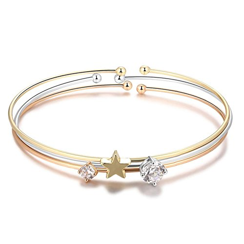 (YinMai Stainless Steel Star Bangle Tri-Color Silver/Gold/Rose Gold with Rhinestone 3 Sets for Women)