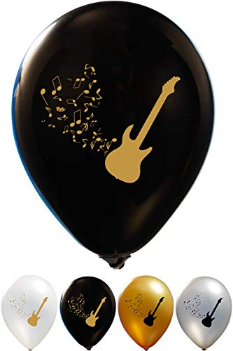 Guitar Balloons - 12 Inch Latex - 2 Sided Print (16 Count) for Birthday Parties or Any Other Event Use - Fill with Air or Helium -