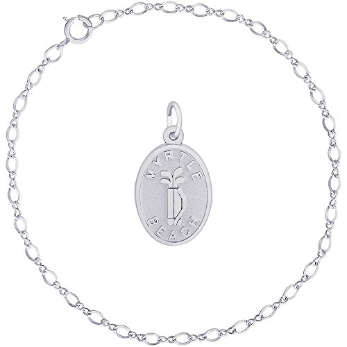 (Rembrandt Charms Sterling Silver Myrtle Beach Golf Bag Charm on a Classic Link Bracelet, 8