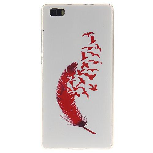 Huawei P8 Lite Funda,Ligero a Prueba de Choques Flexible Ultra Fino Suave TPU Parachoque Carcasa MAGQI Tecnología IMD Diseño Impreso Vendimia Serie Patrón [Absorción de Impacto] Resistente a los Araña Pájaros de Plumas Rojas