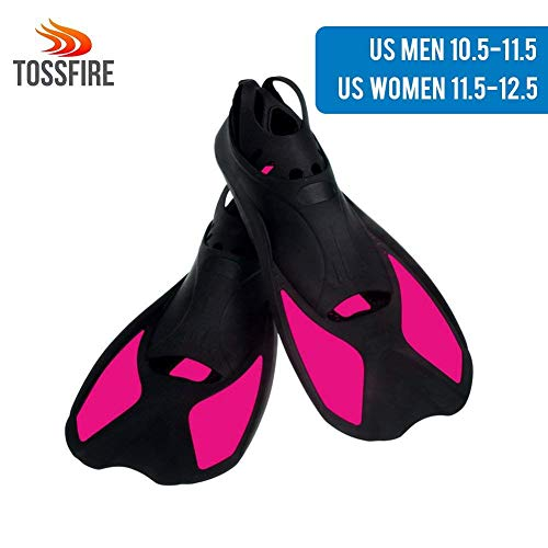 Snorkeling Fins Short Floating Training Swimming Fins for US Size Women 11.5-12.5 Width Ankle 3.3