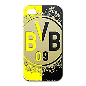 3D Customized Style Borussia Dortmund 11 FC Black And Yellow Pattern Back Cover Case For Iphone 4 Borussia Dortmund Football Club Logo Print Design For Men