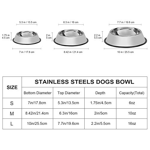 LEACOOLKEY Stainless Steel Dog Bowl for Small/Medium/Large Dog,Cat,Pet-Food/Water Bowls with Rubber Base Reduce Slip/Spill Set of 2 (Silver)