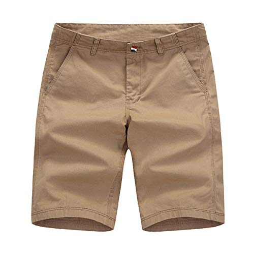 Voncheer Mens Casual Summer Buttons FrontBeltedCotton Shorts with 4 Pockets (36, Khaki Men Shorts)