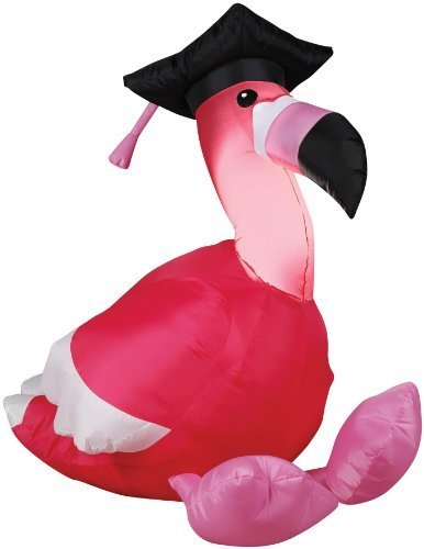 3' Tall Pink Flamingo GRADUATION Airblown Inflatable cap tassle by Gemmy (Air Blown Inflatables)
