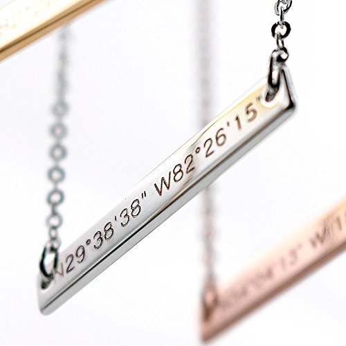 SAME DAY SHIPPING GIFT TIL 2PM CDT A Absolute rate Colrdinate bar necklace - Dainty Bar Diamond Engraving Personalized Necklace Wedding Graduation Birthday - Rates Canada Shipping