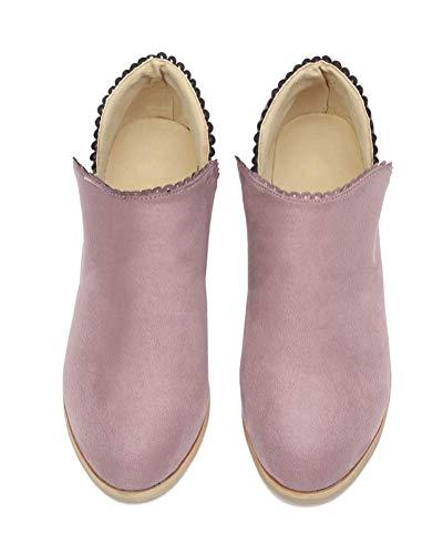 Chelsea Rosa Corti Pizzo Bloccare Minetom Ankle Tacco Martin Boots Moda Stivaletti Autunno Stivali Scarpe Pelle Chic Inverno Donna Scamosciata Elegante qHYqzT