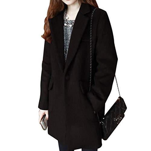 Hot Heaven Fashionable Warm Winter Women Casual Solid Color V-Neck Long Sleeve Pockets Loose Outerwear,Black,M
