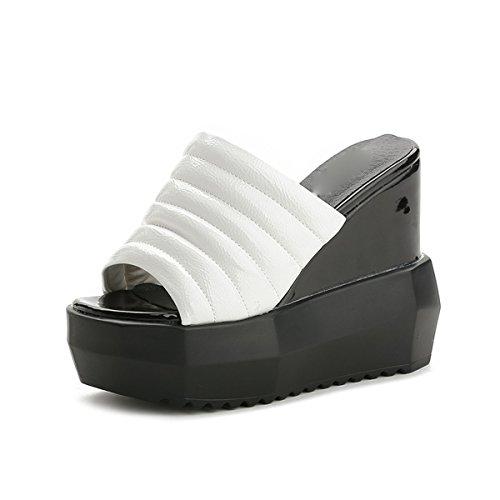 AJUNR Moda/Elegante/Transpirable/Sandalias Pendiente del Talón Cool Zapatillas Hembra Verano 13cm Super Tacón Alto Grueso Inferior Bollo Tipografía Zapatillas white