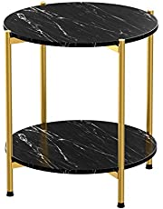 Modern Round Side End Accent Table with Faux Marble Table Top and Gold Metal Frame, Beside Sofa Table Nightstand for Living Room Bedroom