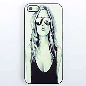 LIMME ships in 48 hours Lovely Girl with Sunglasses Pattern Metal Hard Case for iPhone 5/5S