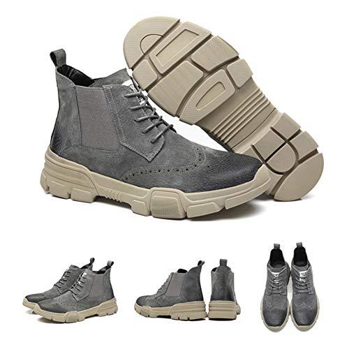Spesso Tacco Antiscivolo Stivali Gray Martin Casual Pelle Stivaletti Tondo Stringate Large Da Moda Uomo Scarpe 41 Size SB6wpqRx