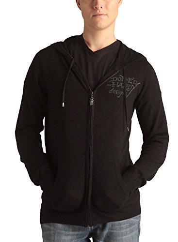 Ed Hardy Mens Jaguar Zip Up Hoodie Sweater -Black - (Ed Hardy Men Sweater)