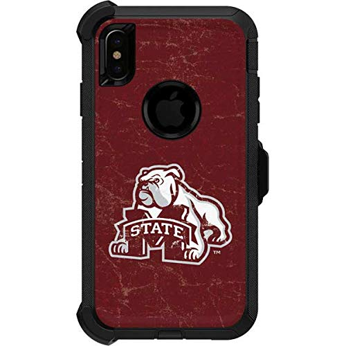 Skinit Mississippi State Bulldogs Distressed OtterBox Defender iPhone Xs Max Skin for CASE - Officially Licensed College Skin for Popular Cases Decal - Ultra Thin, Lightweight Vinyl Decal Protection