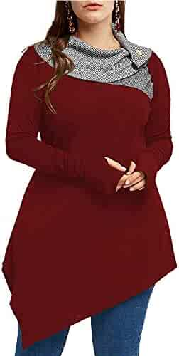 657a6698488 Yskkt Womens Cowl Neck Sweatshirts Plus Size Turtleneck Button Pullover  Asymmetrical Long Sleeve Tunic Tops