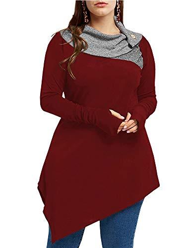 (Yskkt Womens Cowl Neck Sweatshirts Plus Size Turtleneck Button Pullover Asymmetrical Long Sleeve Tunic Tops Wine Red)