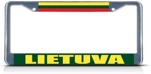 LITHUANIA FLAG METAL NOVELTY LICENSE PLATE TAG FOR CARS LITHUANIAN FLAG
