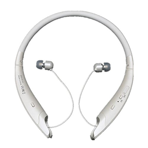 Bluetooth Headset, Easycat Bluetooth 4.1 Wireless Stereo Headphones Earphones Neckband with Retractable and Foldable Design Style Earbuds with Mic for IOS and Android Cell Phones (White)