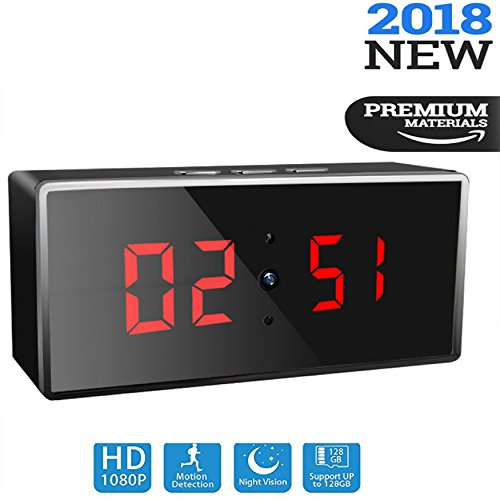 Wireless Spy Camera Clock, 1080p HD Wifi Hidden Security Camera Clock with Night Vision, Motion Detection, Live Remote Surveillance & Loop Recording. Digital Desk Clock Camera Perfect for Home & Nanny by Amerigle