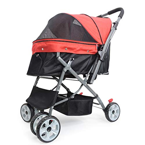 - Love lamp Two-Way Implementation of Pet Stroller Large Four-Wheeled Pet Car Big Cat Big Dog Foldable Cart Outbound Supplies