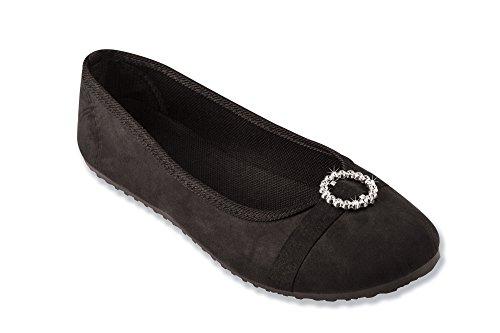 The Paragon Women's Velour Ballerina Slip-on Shoes 8 B(M) - Velour Rhinestone