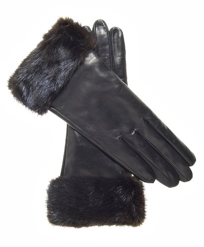 Fratelli Orsini Women's Italian Cashmere Lined Leather Gloves with Mink Cuff Size 7 Color Black - Black Leather Mink